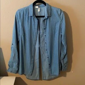 Denim polka dot light weight button down Small